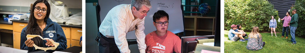 At Penn State Behrend, students study skeletons, on computers, and even outdoors.