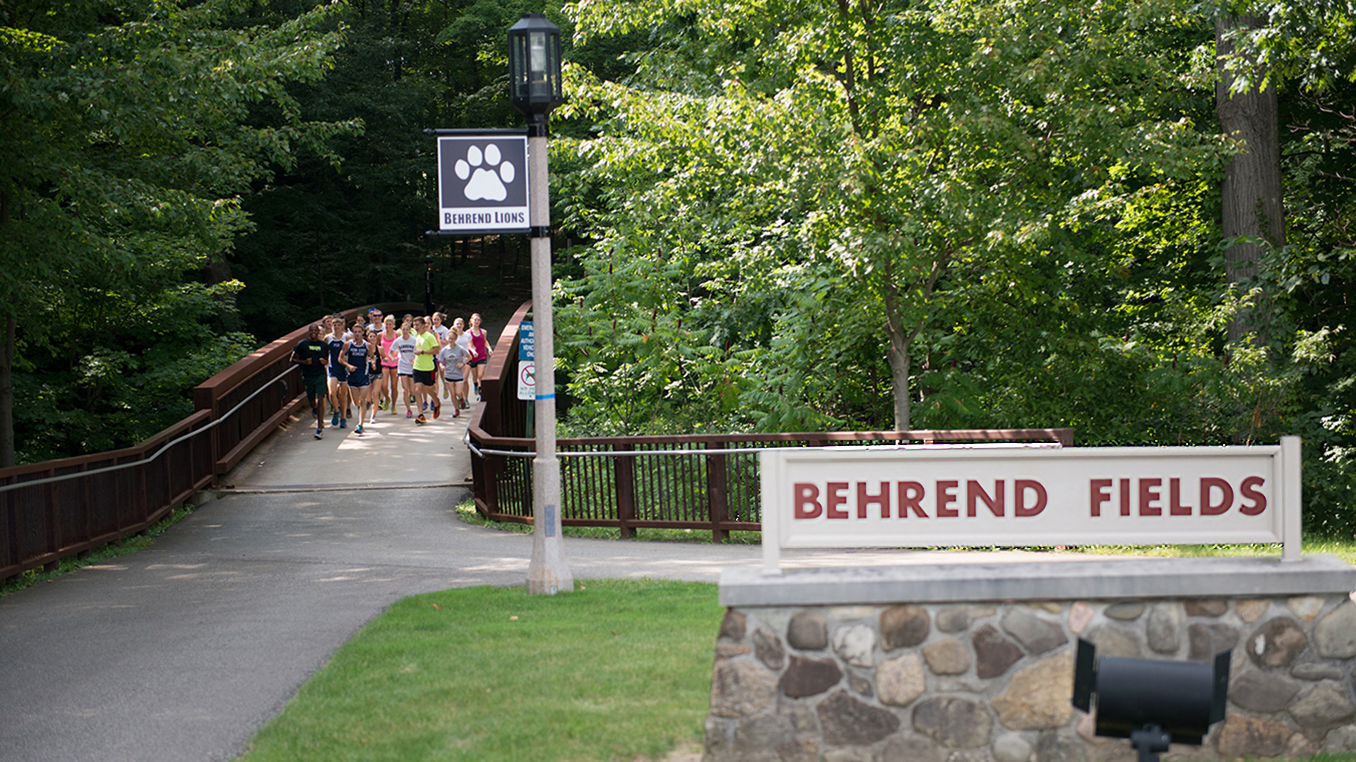 Sign for and path to Behrend Fields