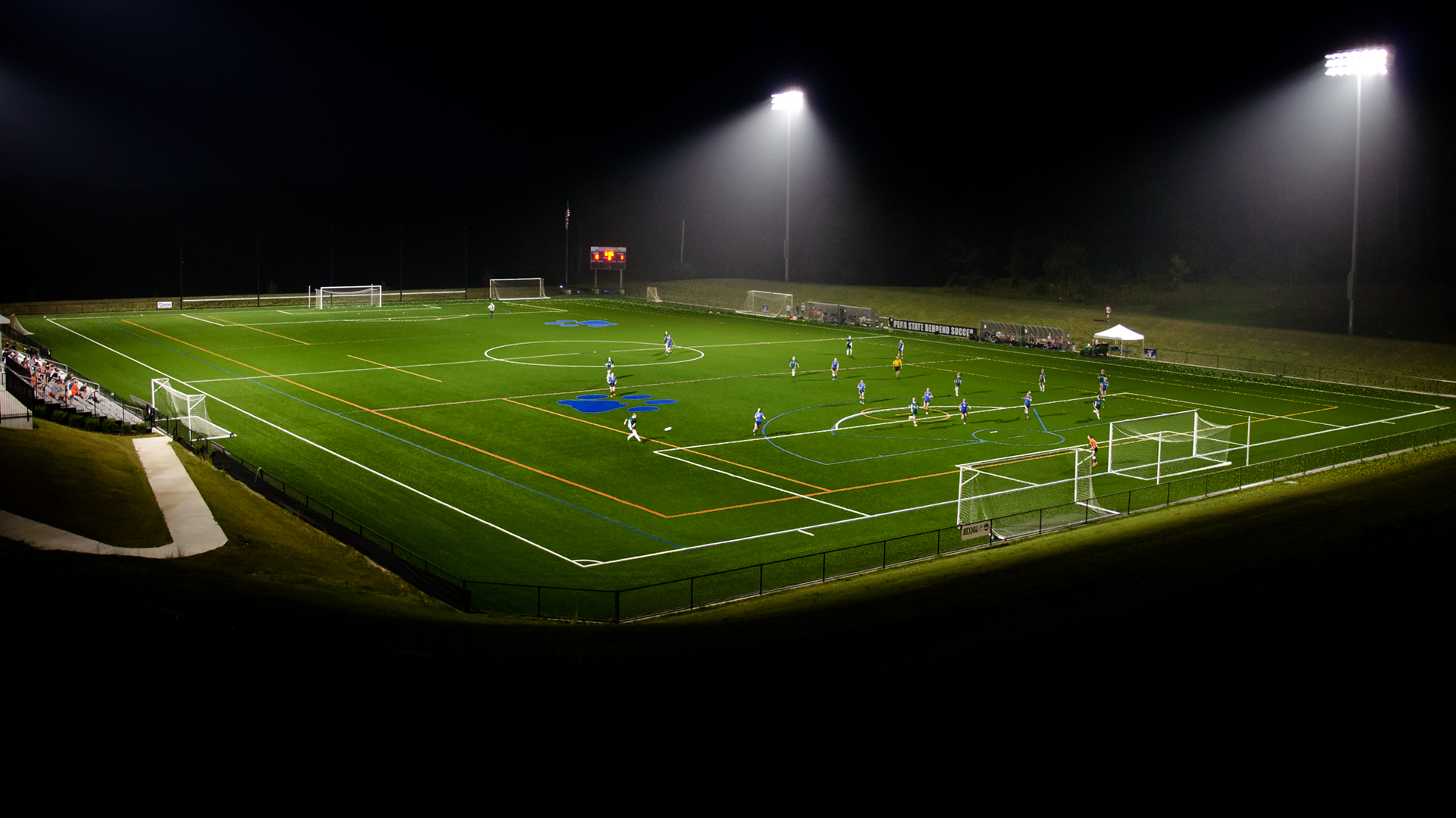 The soccer field at night