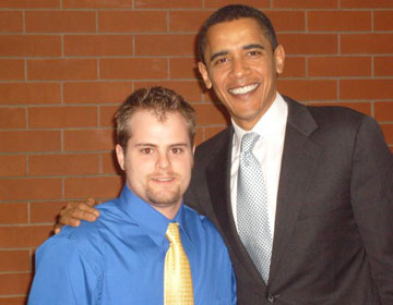 Student with Obama