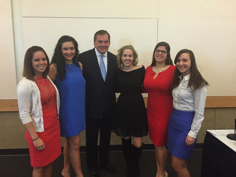 Shannon Lawlor, Ashley Solo, Sarah Veslany, Sarah Hall, and Nicole Malinowski (l-r) meet Tom Ridge, former Congressman from Erie, former Pennsylvania Governor, and former US Secretary of Homeland Security, at the Erie County Bar Association Law Day event on April 24.