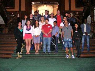 Penn State and Ryerson students at the entrance to Queen's Park, home of the Ontario Provincial Parliament