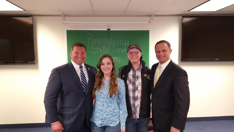 Senator Reschenthaler, Political Science Society President Nicole Malinowski, College Democrats President Domonic Mathews, and Senator Wiley pictured left to right.