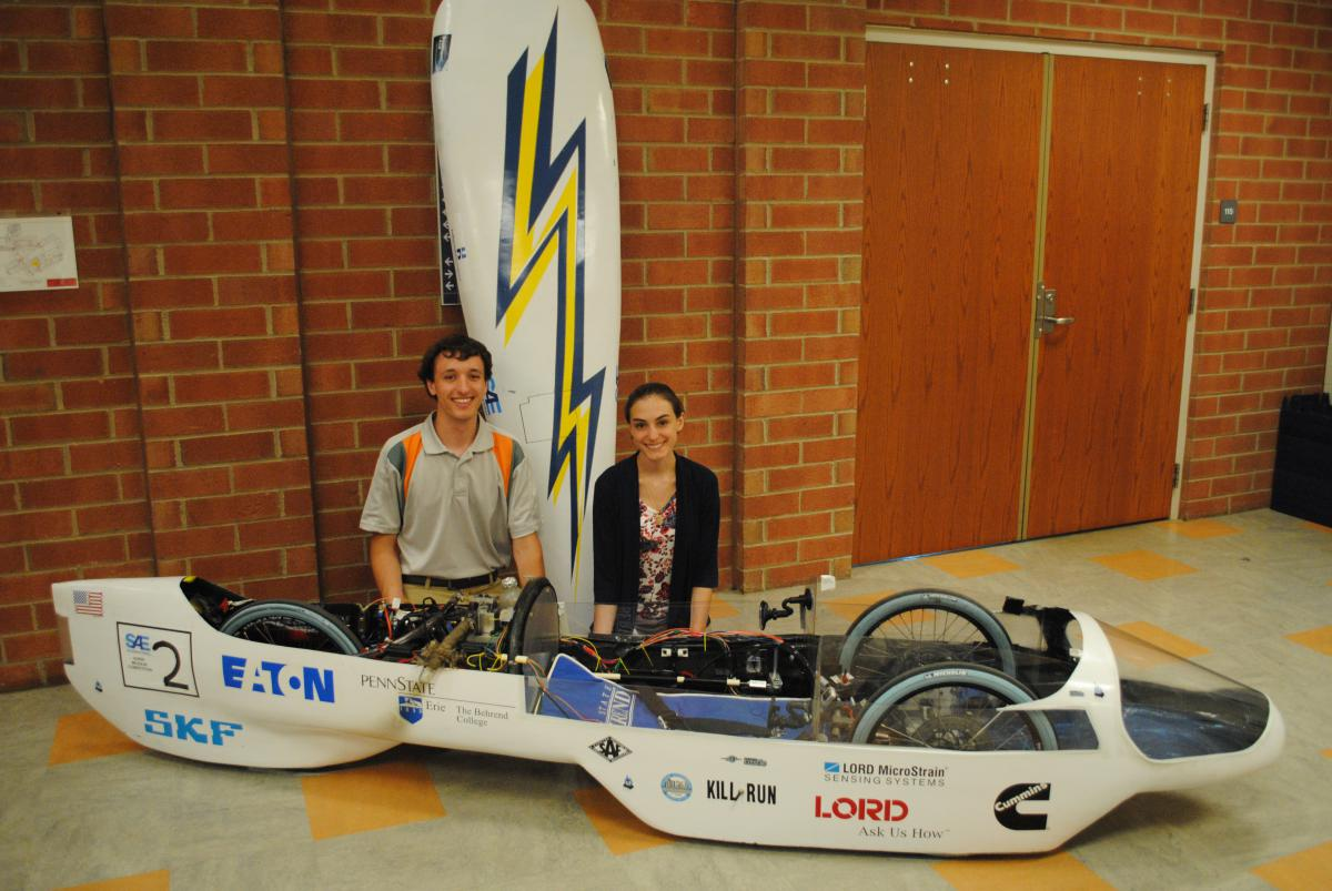 Cody Colpo and Katie Burbules are shown pictured with the hybrid car they entered in this year's Supermileage Competition.