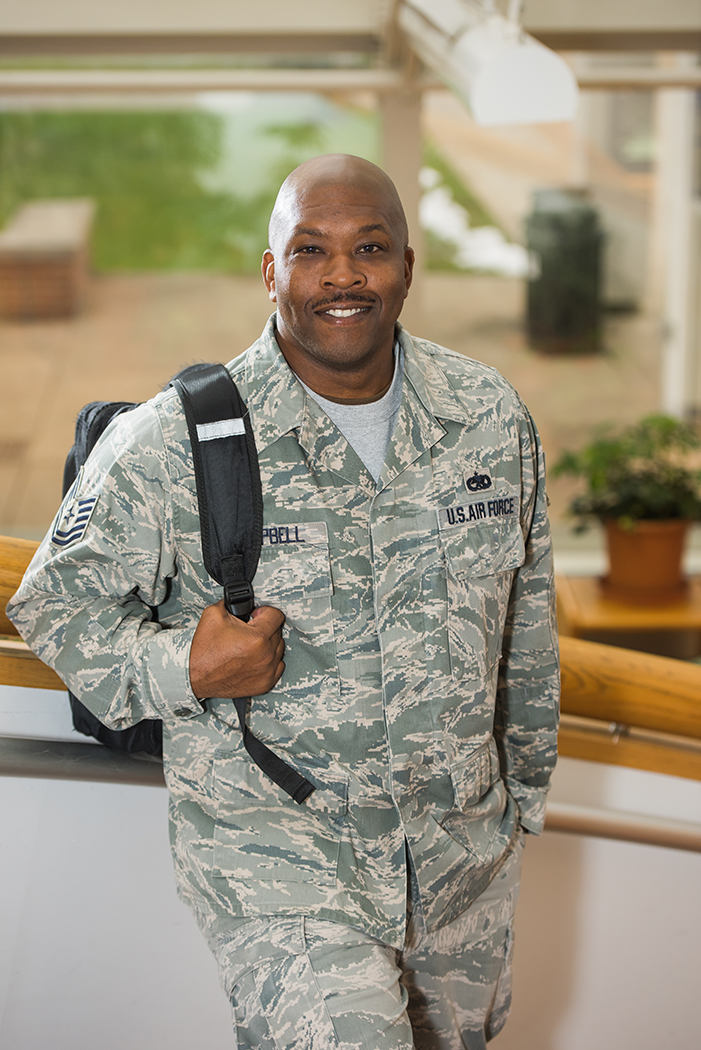 Veteran student in Reed Union Building