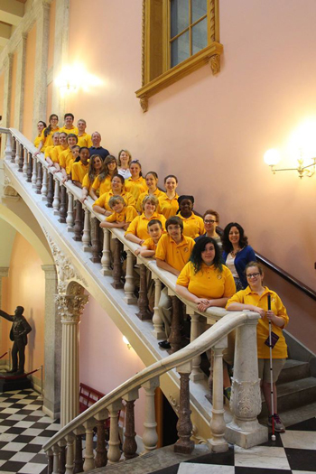 The Young People's Chorus of Erie Chorale visits the Ohio Statehouse.