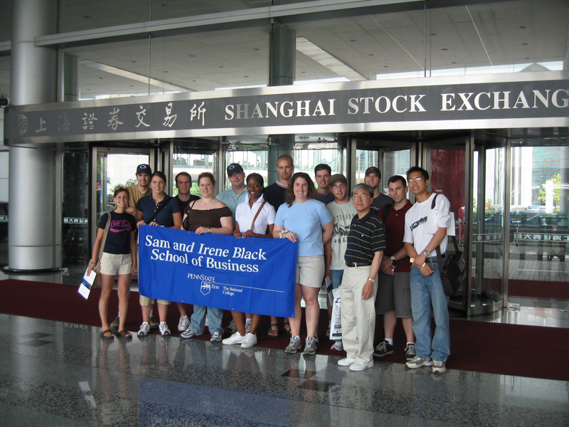 Students from the Black School of Business visit the Shanghai Stock Exchange.
