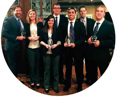 From left, Dr. Greg Filbeck, Samantha Chiprean, Kelsey Schupp, Eric Frei, Ricky Grullon, industry adviser Josh Armstrong, and Drew Barko.
