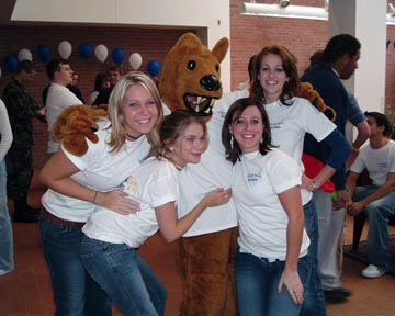 Female students with Behrend Lion