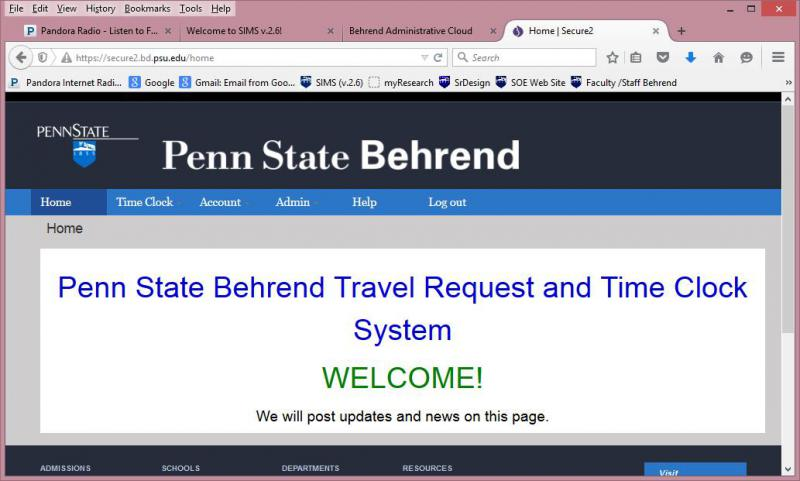 welcome page for online time card