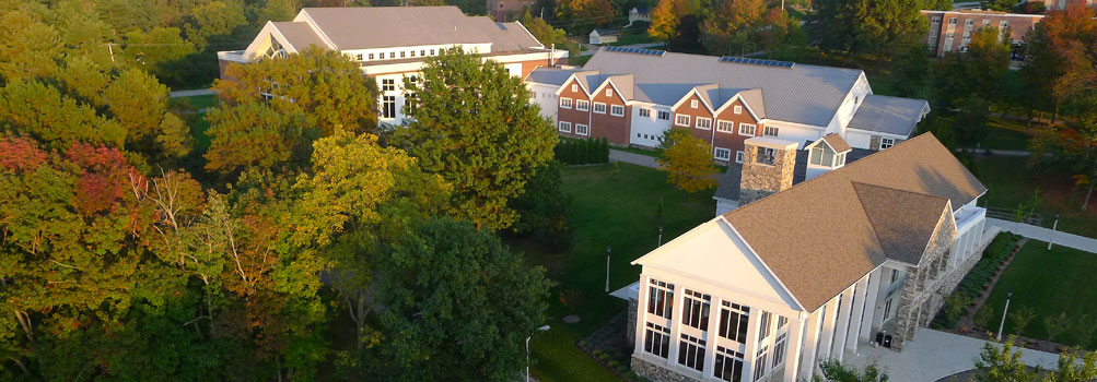 This aerial photo shows Lilley Library, Kochel Center, and Metzgar Center.
