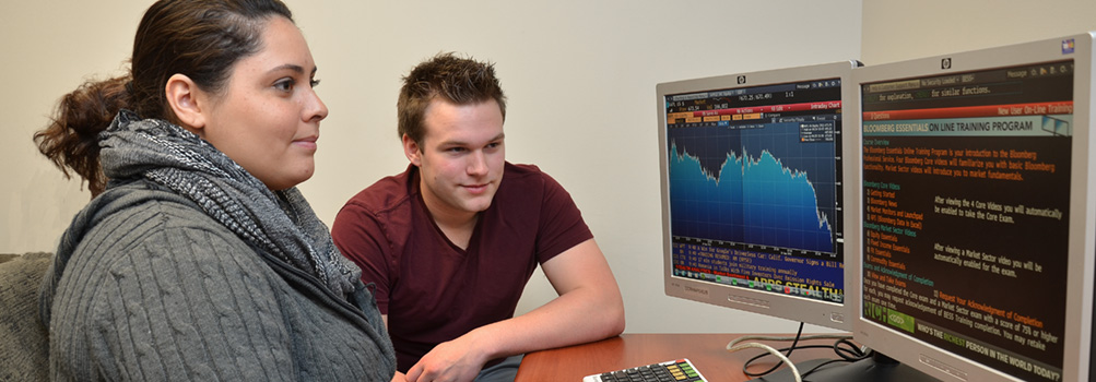 Two students at Penn State Behrend use a financial program on the computer.
