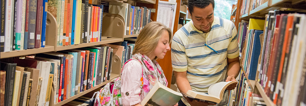 Students review materials in the library.