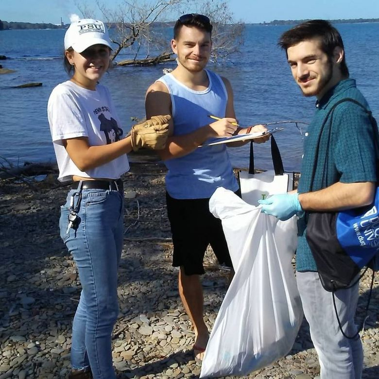 Students at Beach Cleanup