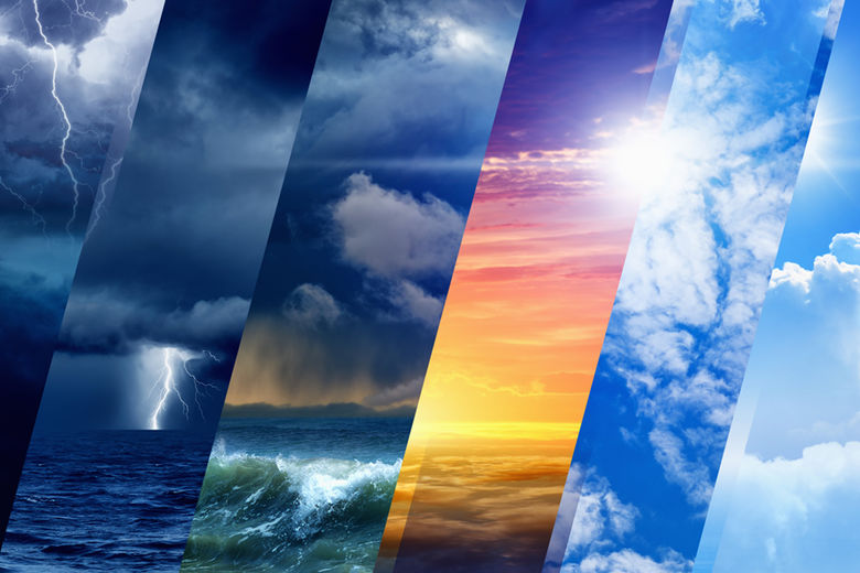 Weather collage showing strips of types of weather