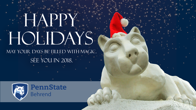 The Nittany Lion wears a Santa hat.