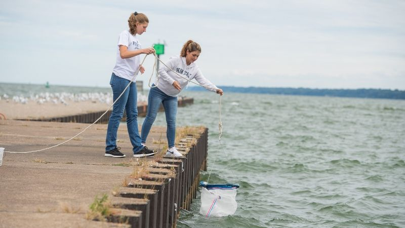 Two Penn State Behrend students lower a net into the water while searching for Hemimysis anomala.