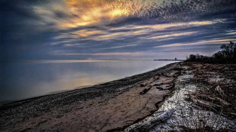 A sunrise over Lake Erie