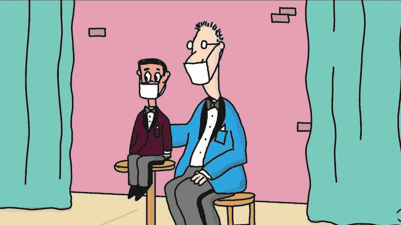 A cartoon of a ventriloquist with his mannequin, both wearing facemasks.