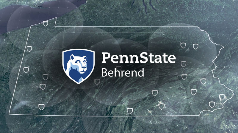Image of Pennsylvania map shown with the Penn State Behrend logo in the center of it.