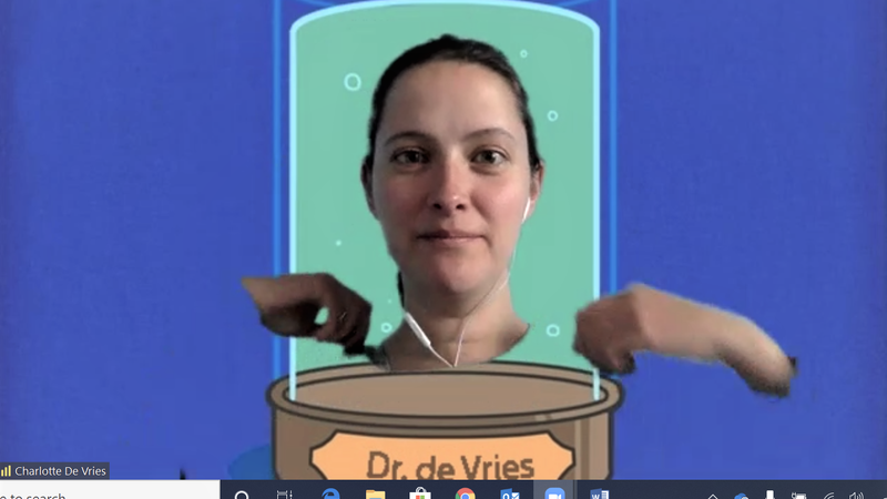 Penn State Behrend professor Charlotte de Vries uses an animation to make it look as though her head is floating.