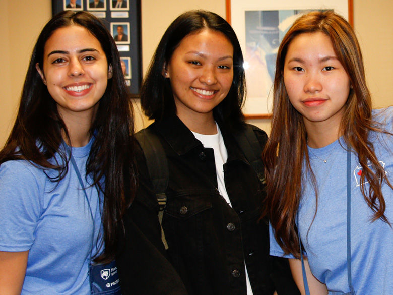 Three new international students meet at Penn State Behrend.