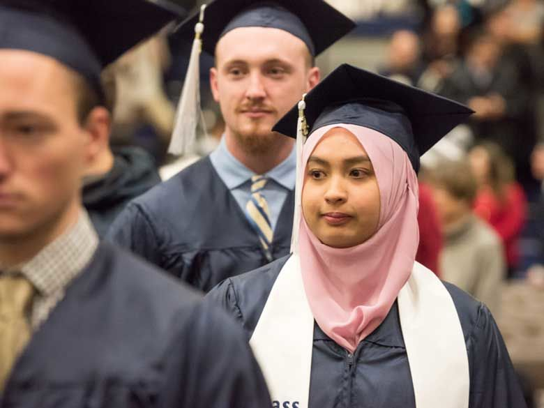 Students from many backgrounds participate in commencement.