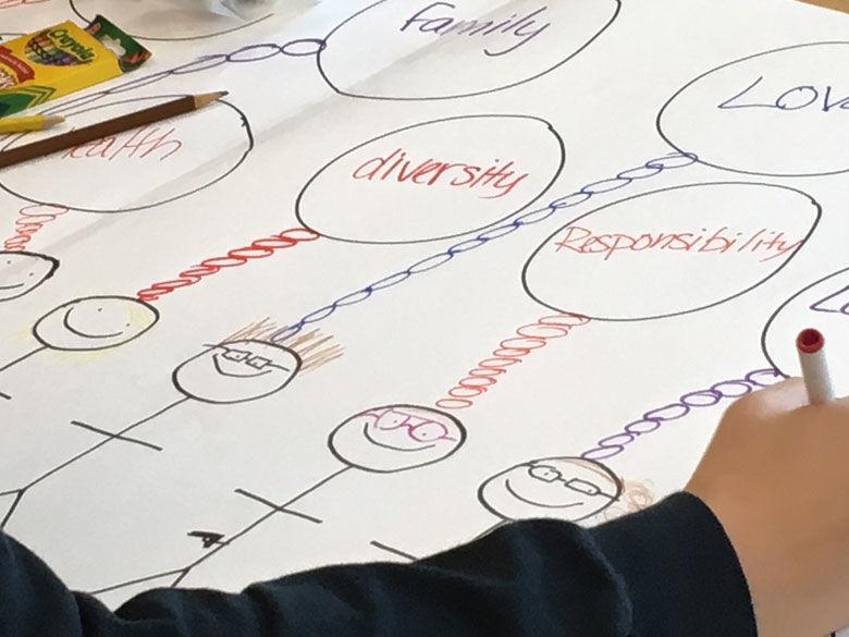 A student draws a diagram at a CORE event.
