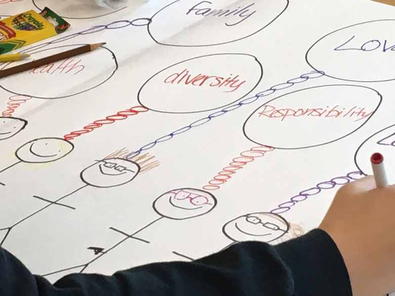 A student draws a diagram at a CORE event.