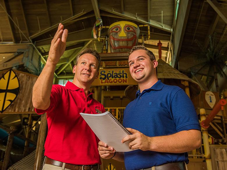 Nick Scott Jr and Penn State Behrend student discuss marketing at Splash Lagoon