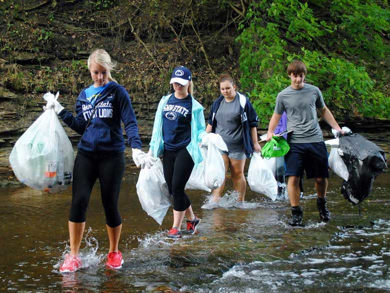 Penn State Behrend students help keep Wintergreen Gorge clean.