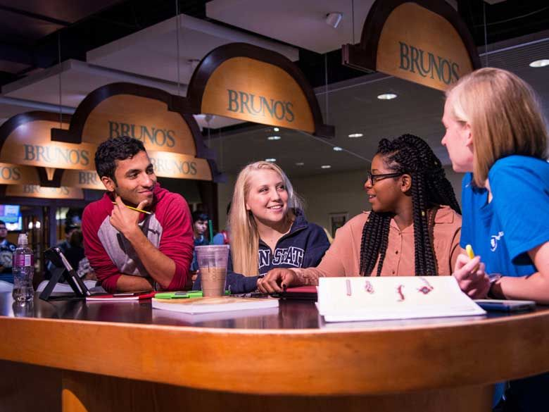 A group of students studies together at Bruno's Cafe.