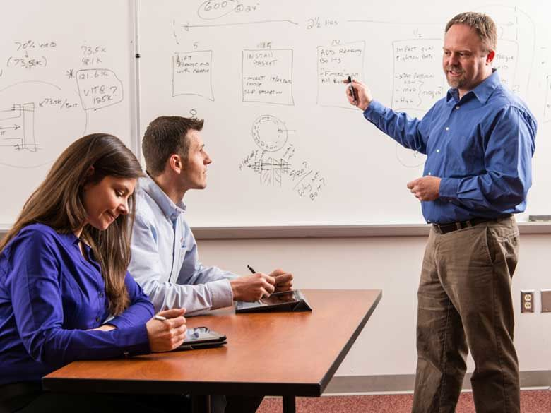 A professor uses a white board to teach psychology concepts to a student.