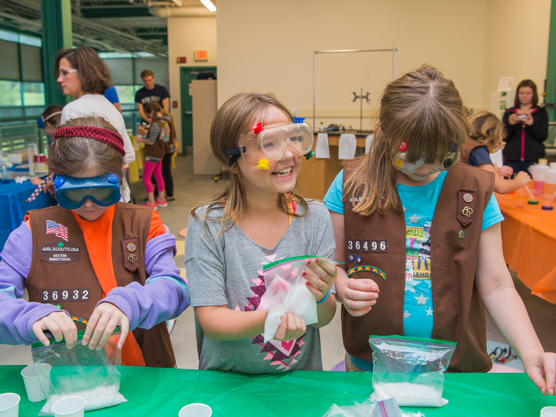 Girl Scouts take part in STEAM activities.