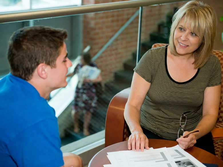 Two students study together at Penn State Behrend in Erie, PA.