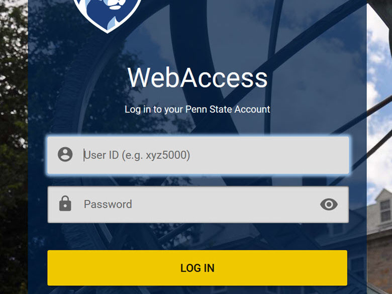WebAccess screen showing the fields for user ID and password.