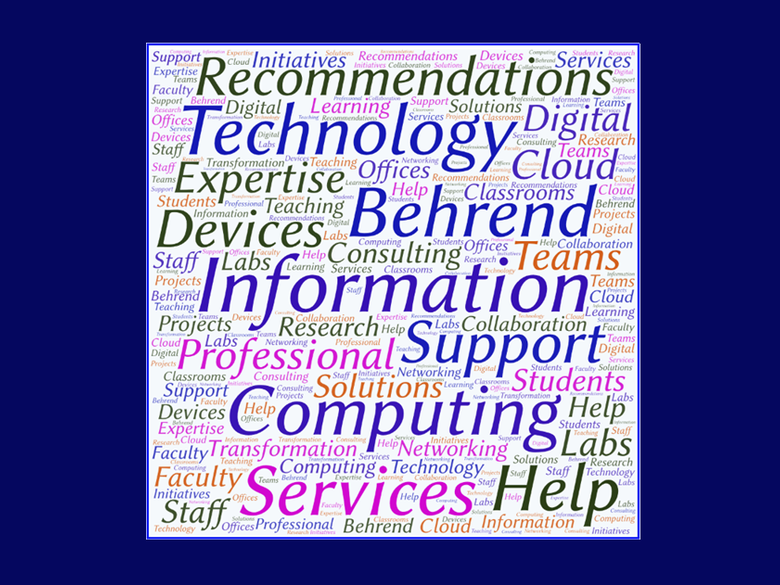 Word Cloud: Information Technology Services Penn State Behrend Recommendations Support Professional  Expertise Help Computing Devices Solutions Consulting Cloud Information Technology Computers Digital Transformation Networking Collaboration Teams Faculty Staff Students Classrooms Labs Offices Research Learning Teaching Projects Initiatives