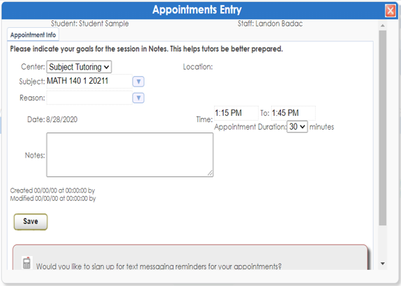 Appointment Info Screen