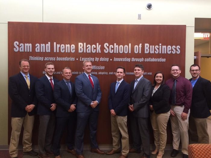 Financial Management Association Honor Society, From left, Dr. Jeff Coy, assistant professor of finance and faculty adviser, Nicholas Findley, Andrew Hoverson, Jason Pettner, Max Morrow, Ethan Moody, Catherine Brooks, Nolan Pike, and Phil Stuczynski, lecturer in business and faculty adviser