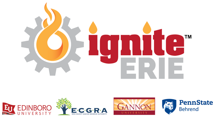 Logo for Ignite Erie, Edinboro University, ECGRA, Gannon University, and Penn State Behrend