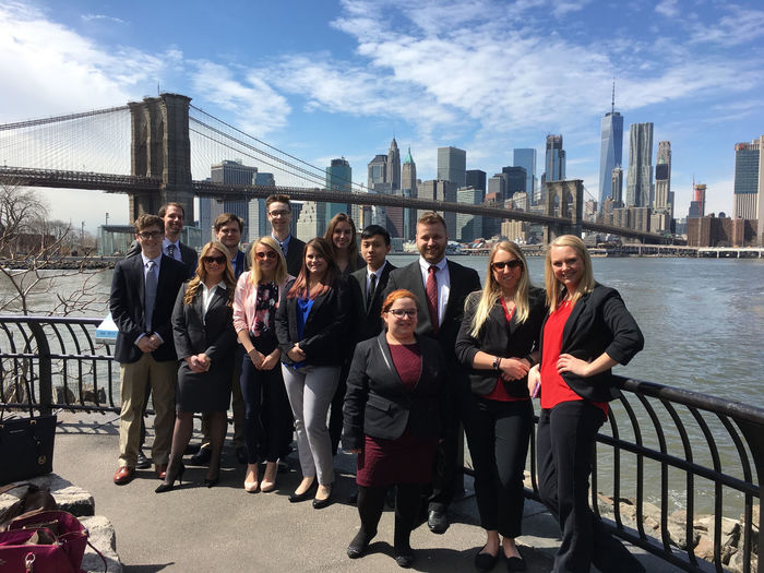 Black School of Business Students on the New York City spring trip in front of the NYC skyline