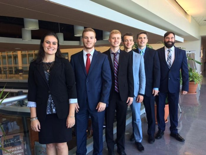 IRC Challenge, From left, Ashley Pettit, Nick Findley, Cameron Feather, Vily Kolesnichenko, Matthew Colpoys, and Greg Filbeck, faculty adviser.