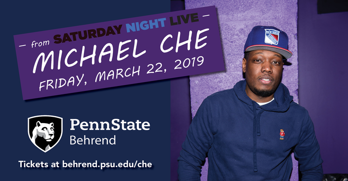 Comedy is Michael Che's craft, and on Friday, March 22, you'll get to see it in action when he brings his standup routine to Penn State Erie, The Behrend College. Public tickets, which cost $20, will be available beginning February 18.
