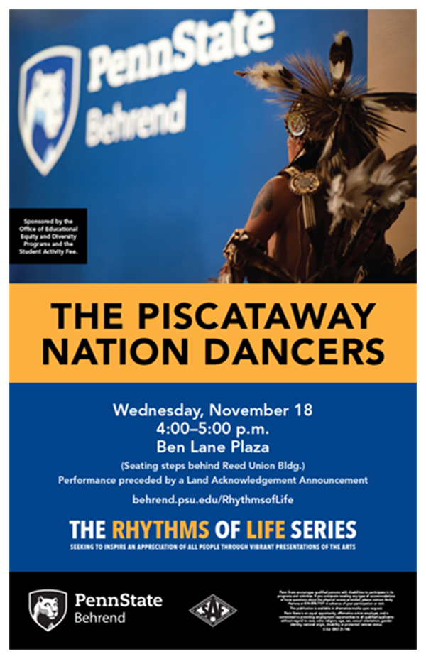 The Piscataway Nation Dancers will perform at Penn State Behrend on Wednesday, November 18.