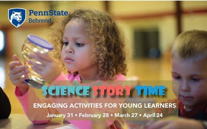 Science Story Time Spring 2020 dates with picture of preschoolers.