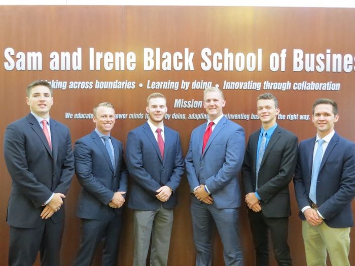 Student Managed Fund Officers: From left, Matthew Colpoys, Andrew Hoverson, Nicholas Findley, Jason Pettner (president), Vilyamir Kolesnichenko, and Max Morrow.