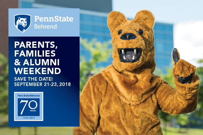 Parents, Families & Alumni Weekend will be held September 21-23 at Penn State Behrend.