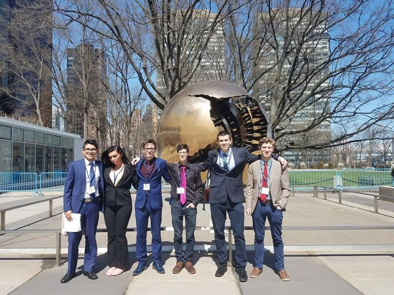 Model UN members in front of the United Nations, New York City