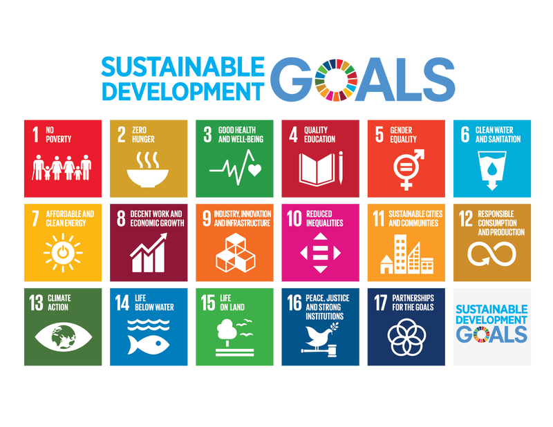The 17 sustainable development goals (SDGs) to transform our world, as set by the United Nations General Assembly in 2015: GOAL 1: No Poverty; GOAL 2: Zero Hunger; GOAL 3: Good Health and Well-Being; GOAL 4: Quality Education; GOAL 5: Gender Equality; GOAL 6: Clean Water and Sanitation; GOAL 7: Affordable and Clean Energy; GOAL 8: Decent Work and Economic Growth; GOAL 9: Industry, Innovation, and Infrastructure; GOAL 10: Reduced Inequalities; GOAL 11: Sustainable Cities and Communities; GOAL 12: Responsible Consumption and Production; GOAL 13: Climate Action; GOAL 14: Life Below Water; GOAL 15: Life on Land; GOAL 16: Peace, Justice, and Strong Institutions; GOAL 17: Partnerships for the Goals. Image: United Nations.