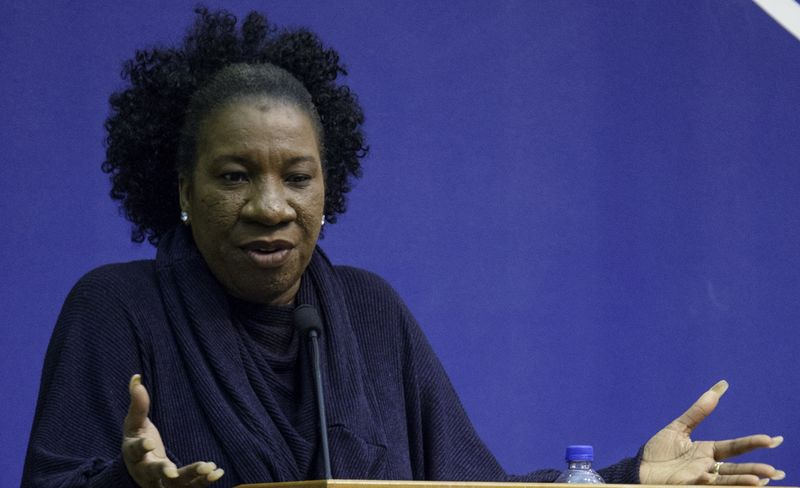 "A close-up of ""Me Too"" founder Tarana Burke speaking at Penn State Behrend"
